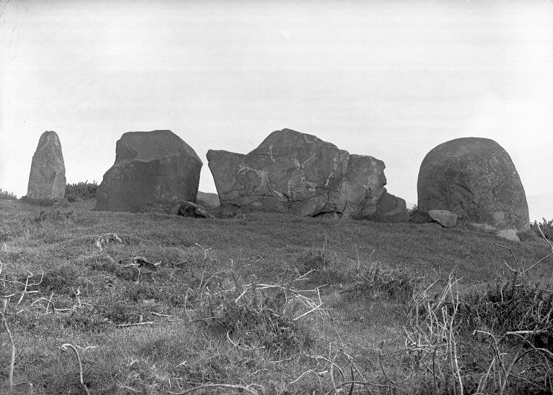 View of recumbent stone and flankers. Original negative captioned: 'Ardlair Circle, Kennethmont, Recumbent Stone from outside Circle / May 1906'.