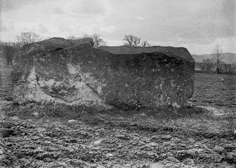 View of recumbent stone. Original negative captioned 'Rothiemay Circle Recumbent Stone with Cup marks from North / April 1904'.