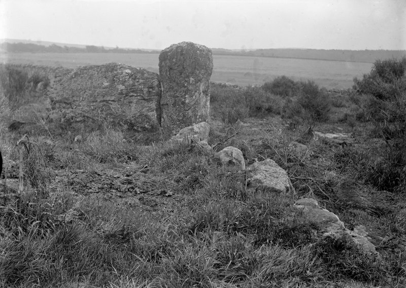 View of circle. Original negative captioned: 'Stone Circle at Auchquhorthies near Portlethen. Recumbent Stone and Stone Setting viewed from outside circle looking South East 1902'.