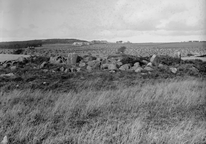 General view of cairn. Original negative captioned: 'Stone Circle at Cairnwell, near Portlethen, View from East, Oct 1904'.