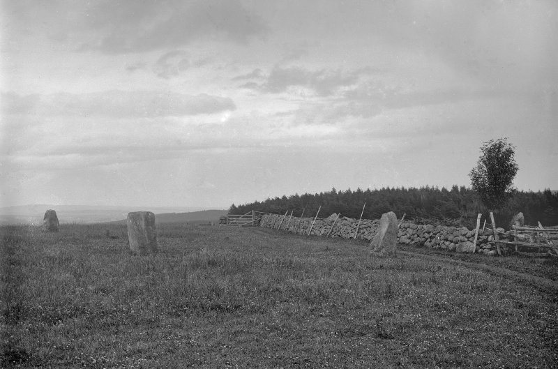 General view from the west. Original negative captioned: 'Stone Circle at Cairnfauld, Durris, near Banchory viewed from the West looking East July 1902'.
