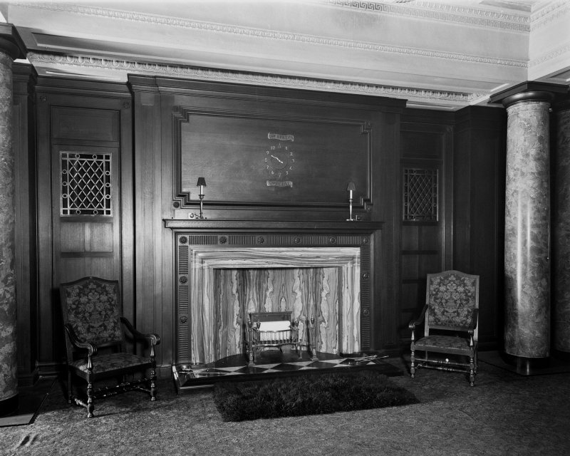 Edinburgh, Picture Theatre, interior. View of marble fireplace and wood panelling