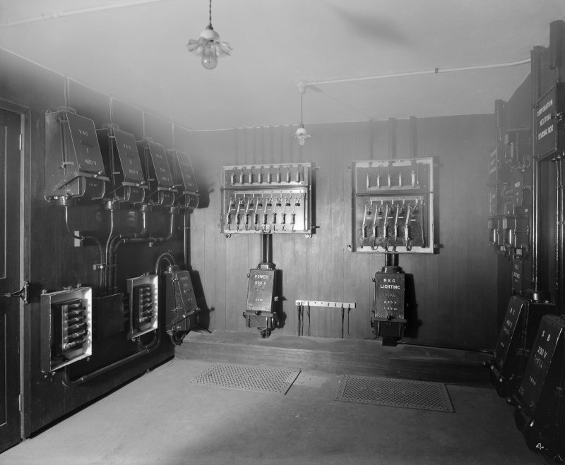 Edinburgh, Picture Theatre, interior. View of room with lighting boxes and fuse boxes.