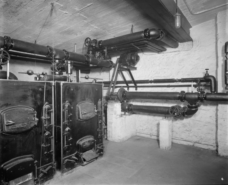 Edinburgh, Picture Theatre, interior. View of heating furnaces and pipes.