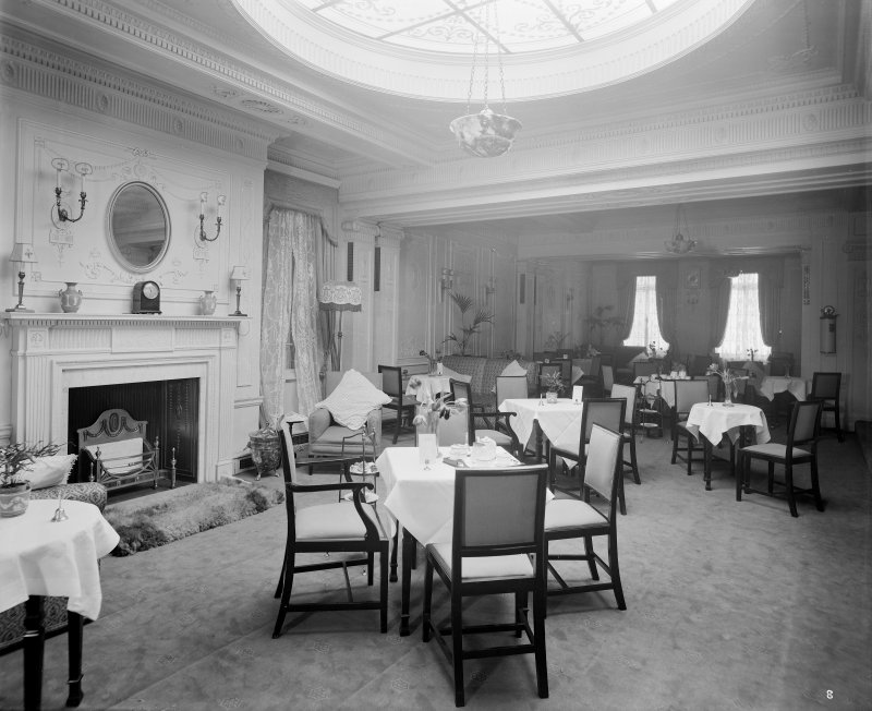View of dining area, the Edinburgh Picture Theatre or New Picture House cinema on Princes Street.  It opened in 1913 and was demolished in 1951 to make way for a Marks and Spencer store.
