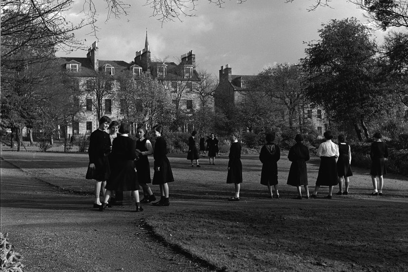 General view of east side of George Square showing gardens and schoolgirls