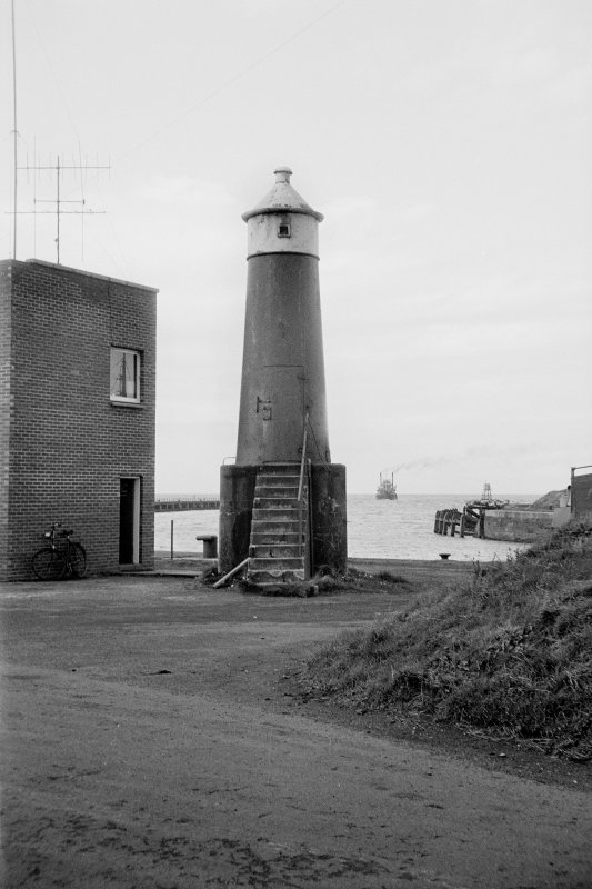 View of leading light beacon, Ayr Harbour, from E showing curved E front.