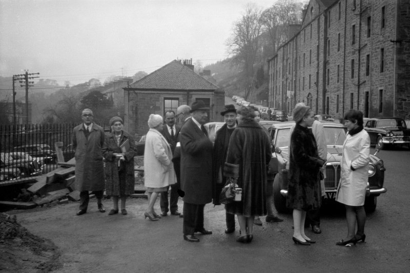 View from SE showing opening of refurbished Caithness Row by Kenneth Dale Owen with New Buildings in background