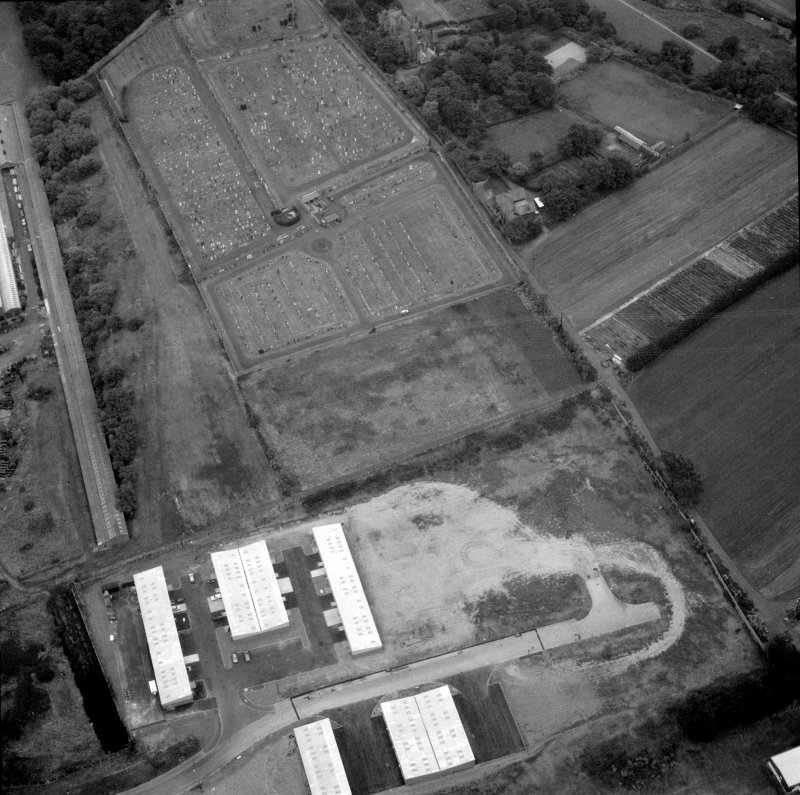 Oblique aerial view of Inveresk Roman Fort.
