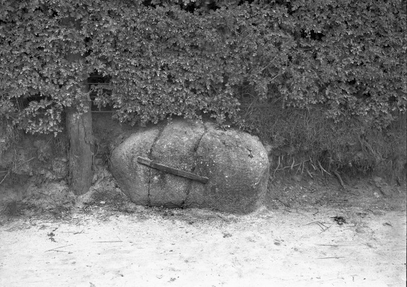 View of broken boulder held together by metal band. Original negative captioned: 'The Witche's [sic] Stone near Forres'.