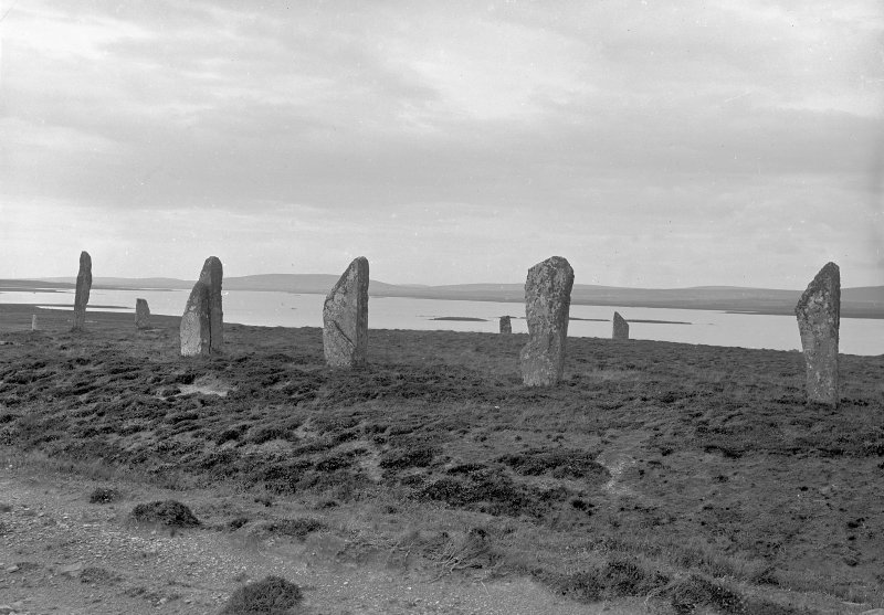 General view from the south west. Original negative captioned 'Stone Circle at Brogar, (Stones of Stennis) Orkney July 1905 / Viewed from South West'.