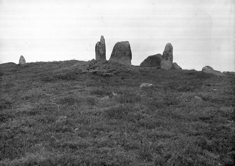 "General view of chambered cairn. Original negative captioned: 'Circle about 4 miles N.E. of Strathpeffer on moorland / Stone Circle called Clachan Gorach or ""Foolish Stones"" 1907'."