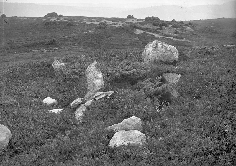"View of remains of chamber. Original negative captioned: 'Cist at Stone Circle called Clachan Gorach i.e. ""The Foolish Stones"" nearly 5 miles North East of Strathpeffer 1907'."