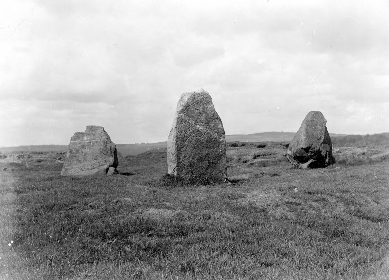View of central area consisting of three standing stones, showing Pictish symbol stone in the middle.