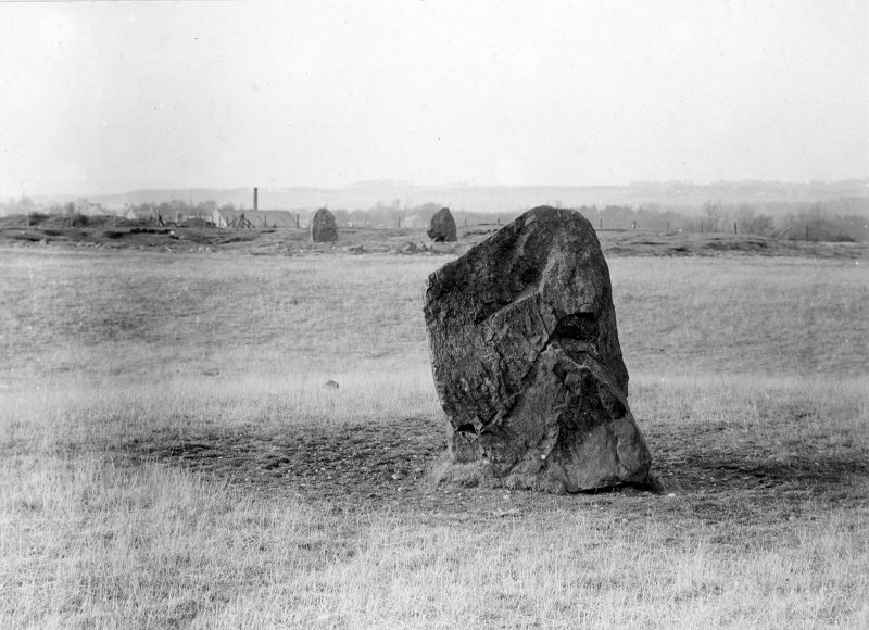 Northernmost stone of avenue, with henge and circle visible in background
