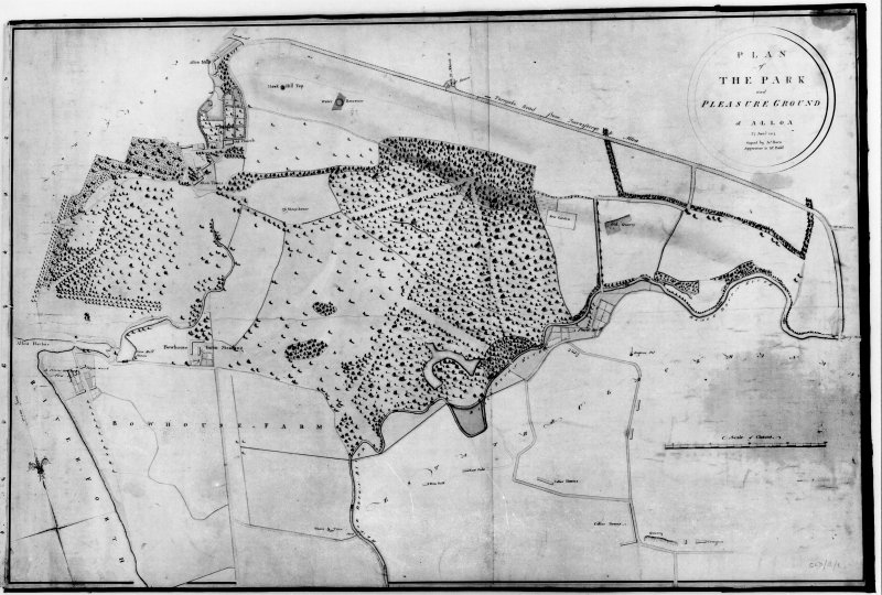 Alloa Tower Photographic copy of plan of park and pleasure grounds of Alloa Titled: 'PLAN OF THE PARK and PLEASURE GROUNDS of ALLOA' Dated: '27 Jan 1814' 'Copied by Jas Horn  Apprentice to Mr Bald'