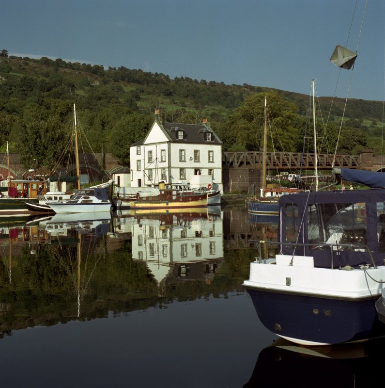 View of basin and custom house, Bowling Harbour, Forth and Clyde Canal, from south west.