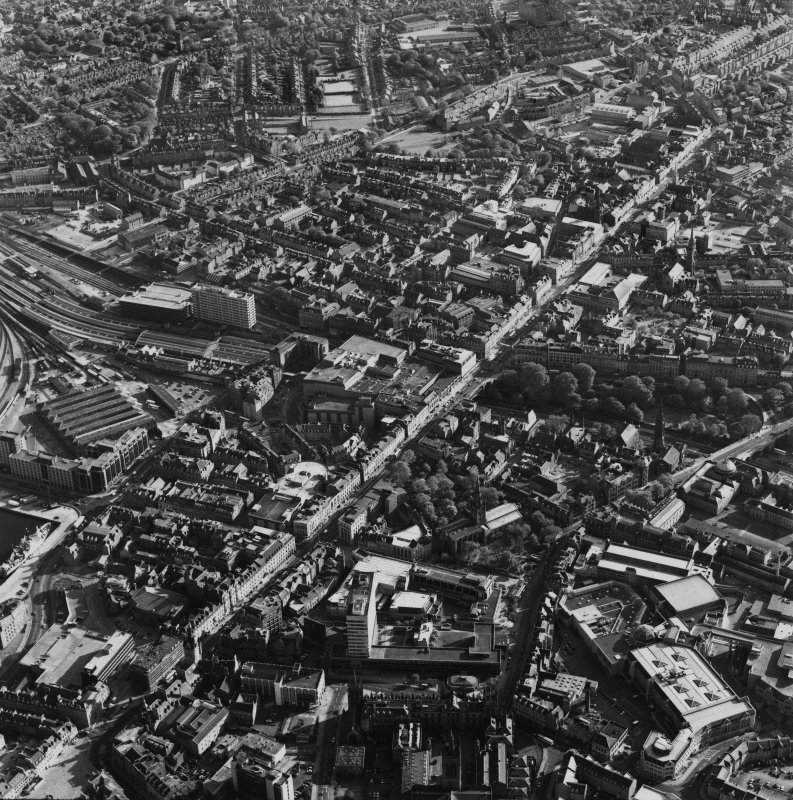 Aberdeen City centre, oblique aerial view, taken from the NNE, centred on Union Street.