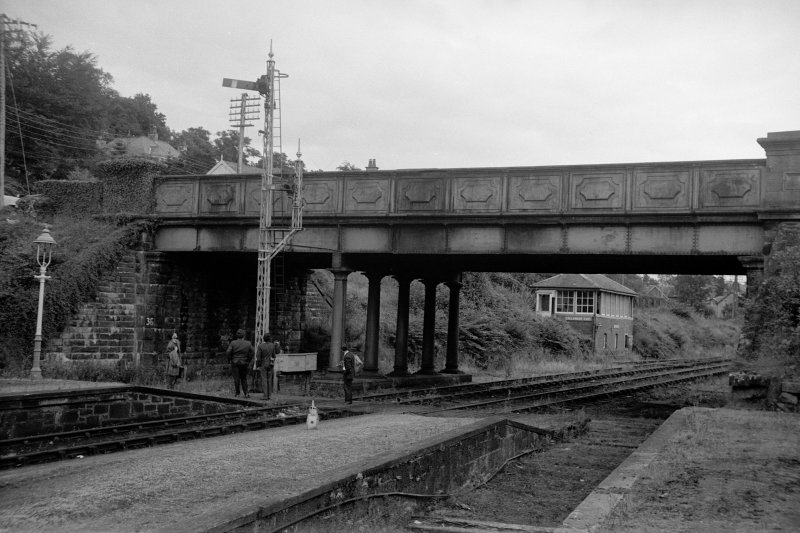View from W showing bridge and signal box at Callander Station. The station was closed in 1965.