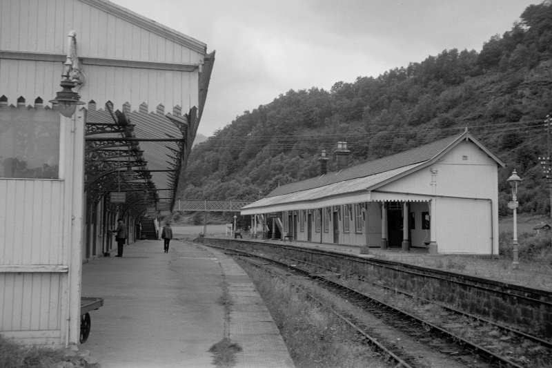 View from SE showing ESE and SSW fronts of up platform building with down platform building on left