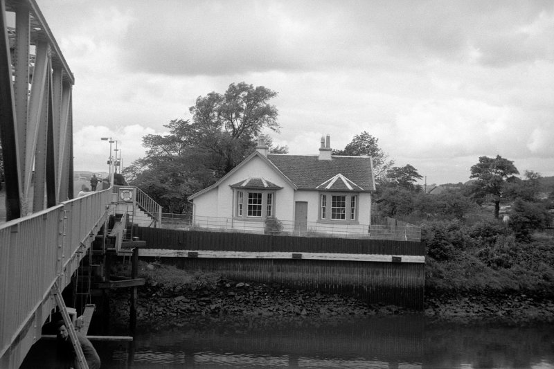 View from ESE showing ESE front of cottage with part of bridge on left