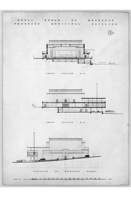 Sections and elevations. Titled: 'Royal Burgh of Rothesay Proposed Municipal Pavilion.' Scanned image of E 12449.