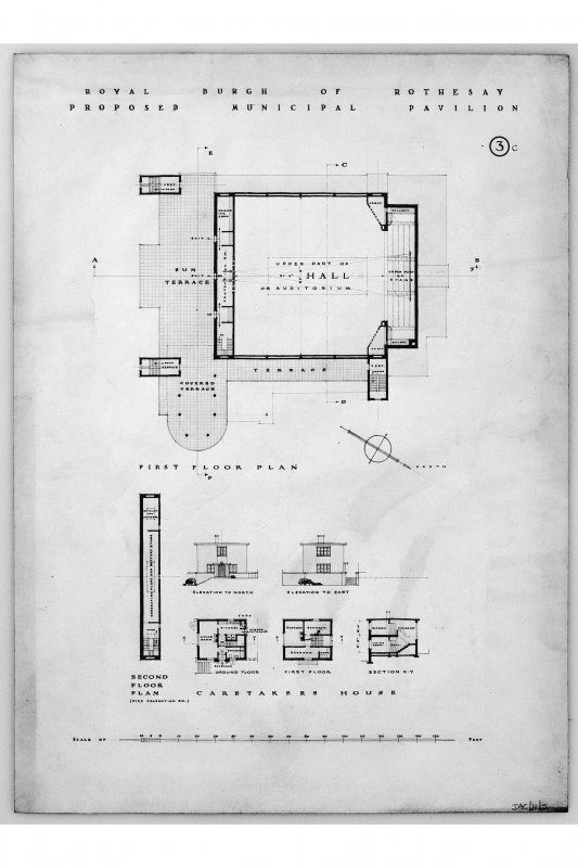 Elevations and floor plans including details of caretakers house. Titled: 'Royal Burgh of Rothesay Proposed Municipal Pavilion.' Scanned image of E 12448.