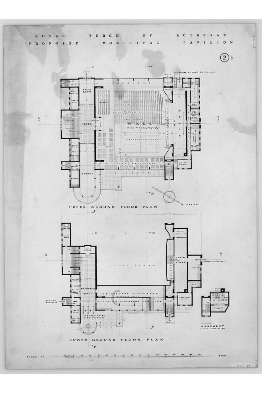 Floor plans. Titled: 'Royal Burgh of Rothesay Proposed Municipal Pavilion.' Scanned image of E 12451.