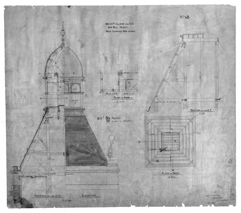Photographic copy of drawing showing sections, elevation and details of W staircase roof. Digital image of B 78242 CN