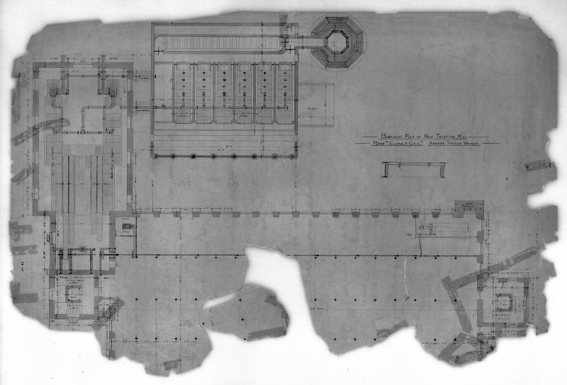 Photographic copy of drawing showing plan of basement flat of new twisting mill. Digital image of B 78220