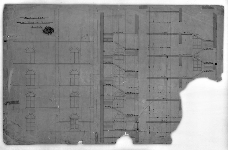 Photographic copy of drawing showing elevation and sections of new twisting mill. Digital image of B 78221