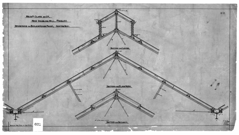 Photographic copy of drawing showing details of boiler house roof. Digital image of B 78234