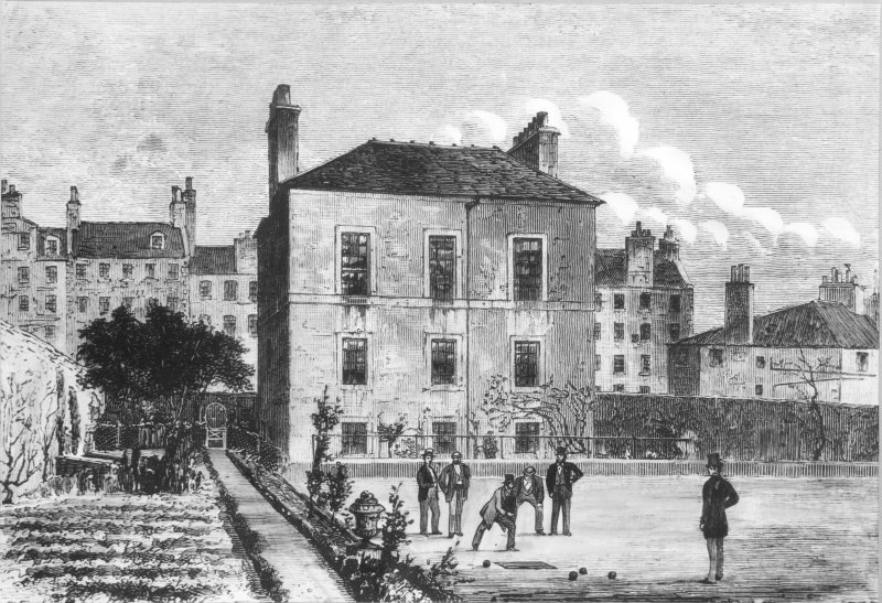 Drawing showing men bowling on the green at the rear of Archers' Hall, Edinburgh. Seen from the West, with the buildings of Buccleuch Street in the background.