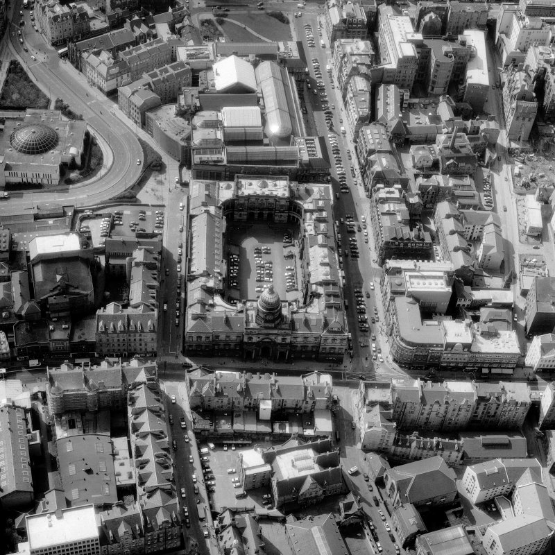Aerial view showing Old College and Royal Museum of Scotland