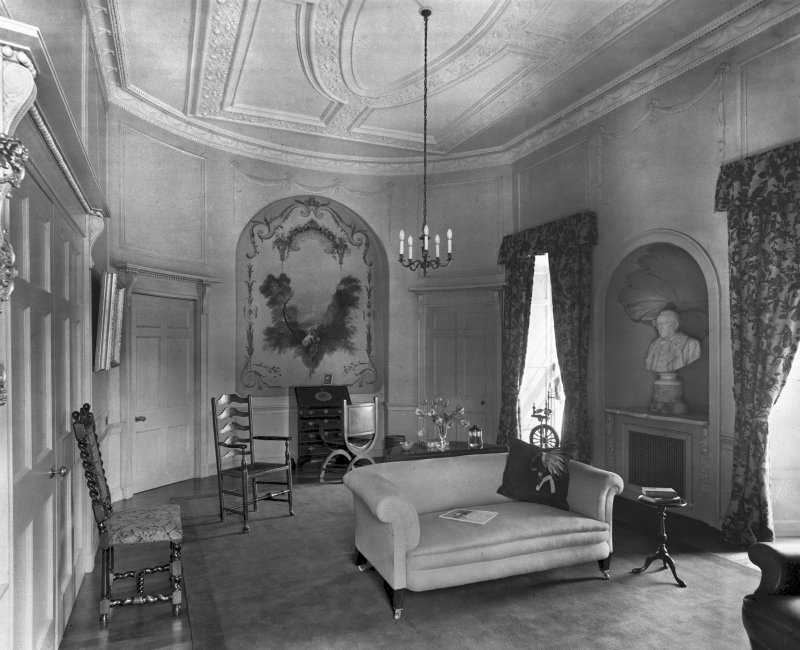 Craigcrook Castle, interior. View of morning room showing wall painting in recess.