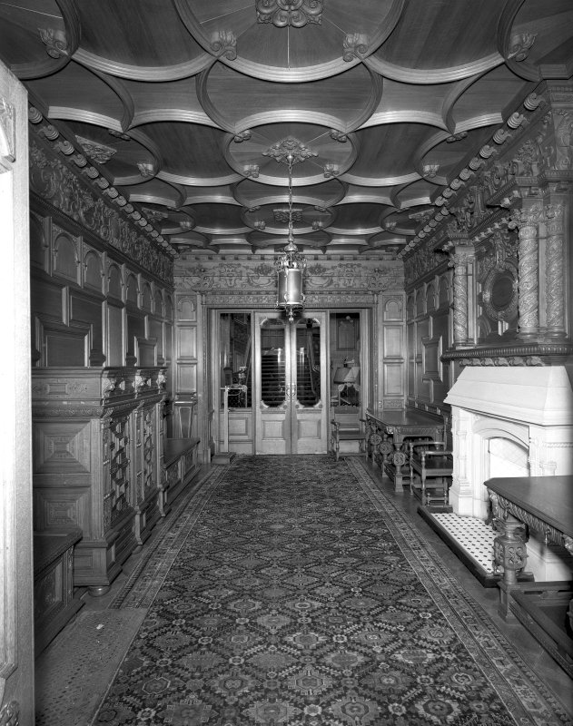 View of ground floor Vestibule of Skibo Castle, Sutherland, taken from East.
