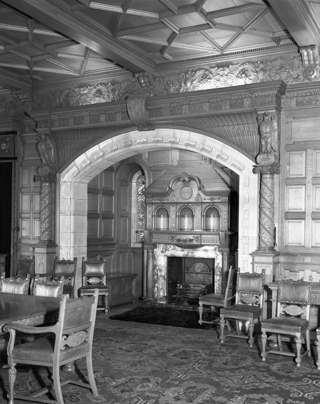 Interior-detail of North alcove and chimneypiece in Dining Room on Ground Floor