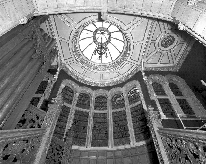 Detail of staircase and ceiling in ground floor hall of Skibo Castle, Sutherland.