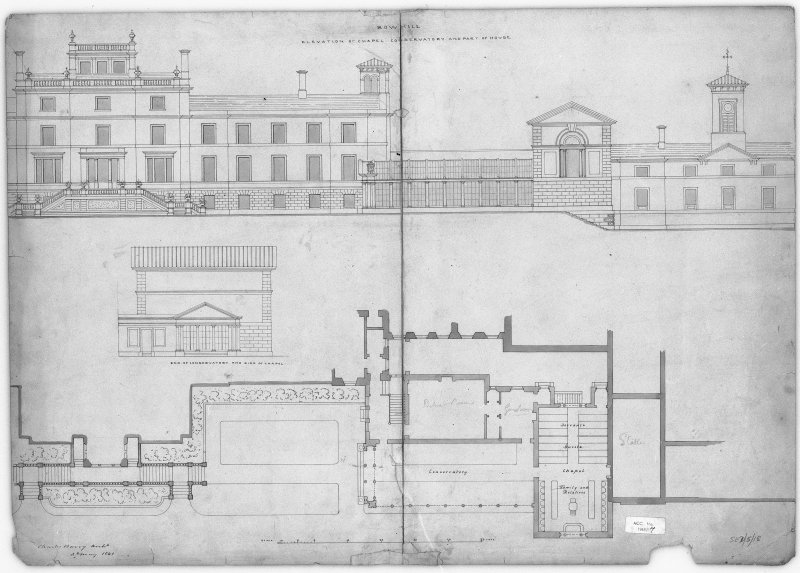 Photographic copy of drawing showing elevation and plan - unexecuted.