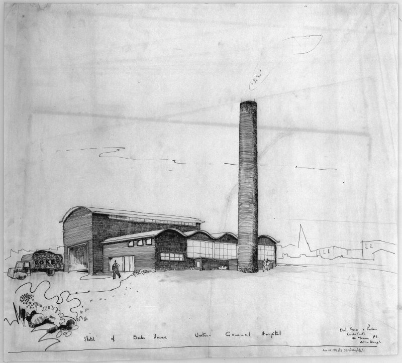 Perspective sketch of boiler house. Scanned image of D 64834.