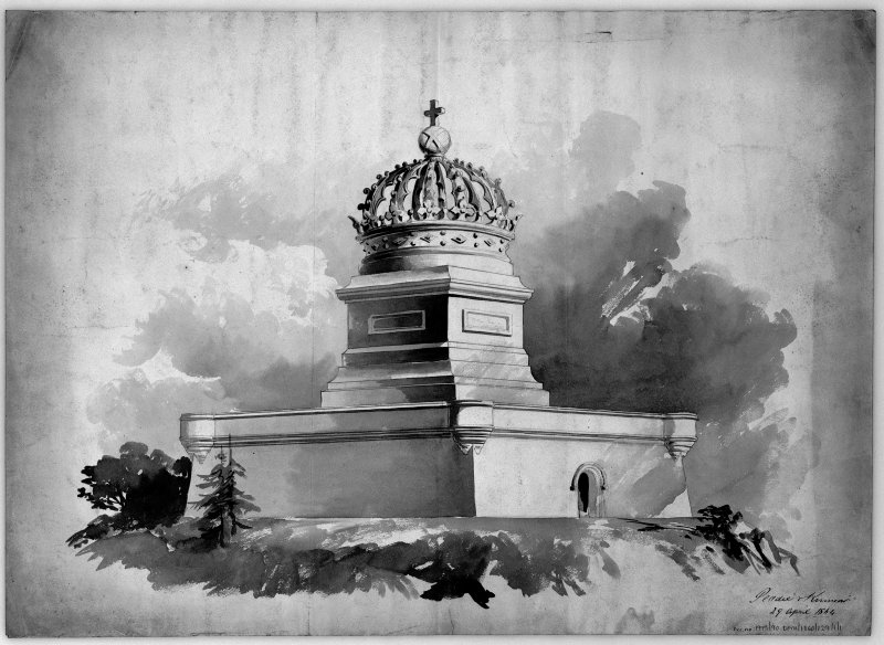Perspective sketch of proposed monument. Scanned image of E 12031.