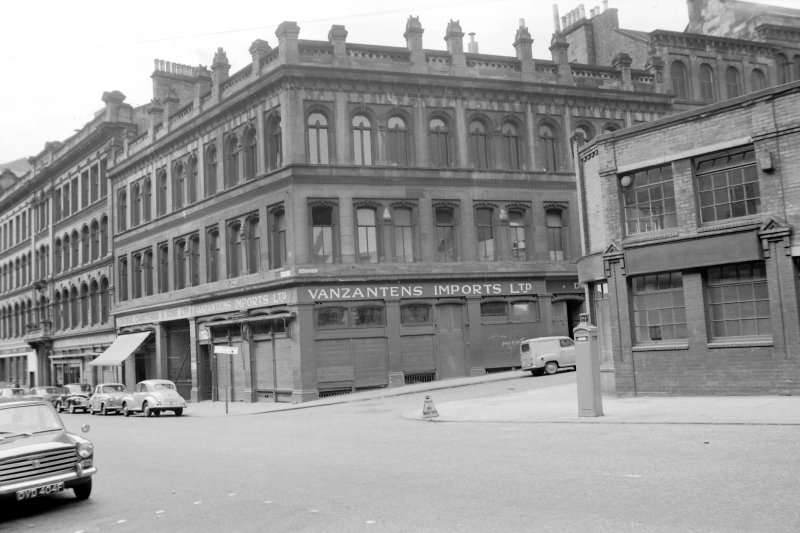 View from SSE showing SSW front and part of SE front of numbers 46-54 Ingram Street with Albion Buildings in background