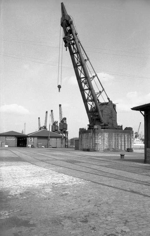 View from SW showing 1894 steam crane with cranes and goods sheds in background