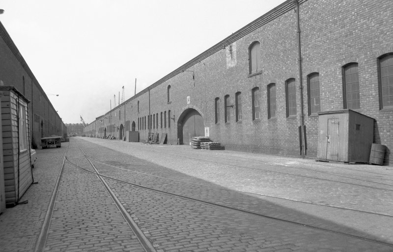 View showing warehouses at dock
