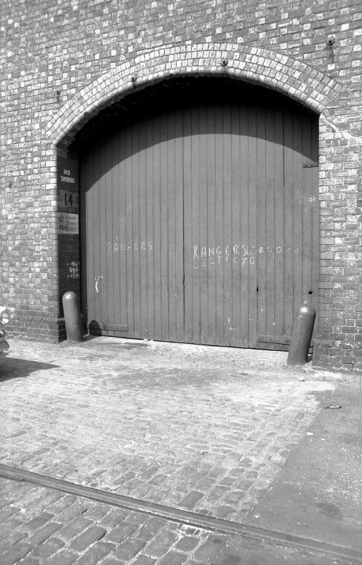 View showing door of warehouse at dock