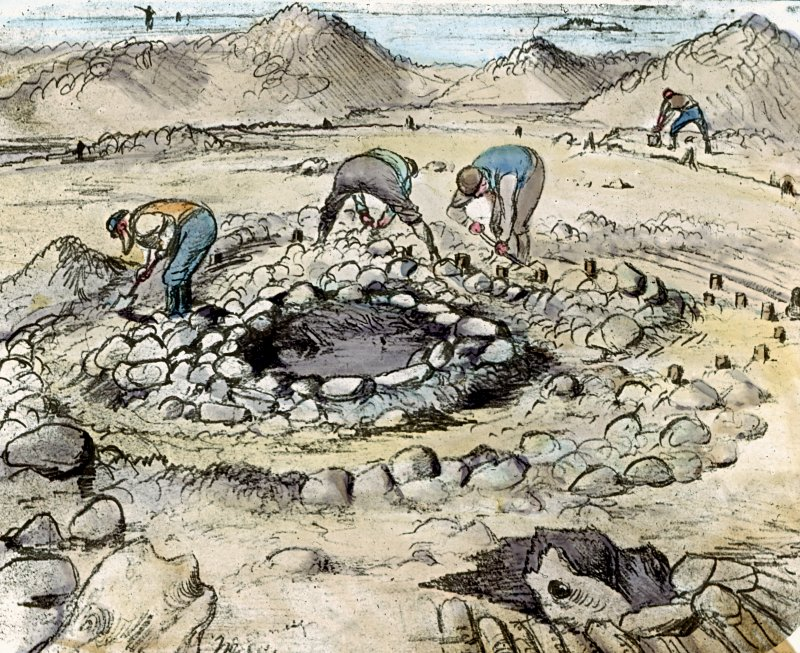 Drawing showing the excavation at Dumbuck crannog in 1898.