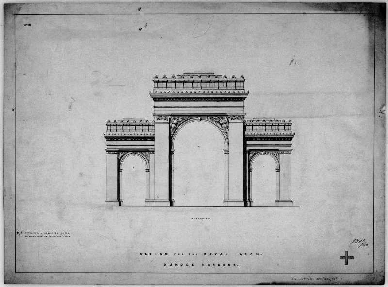 Elevation of Victoria Royal Arch for competition.