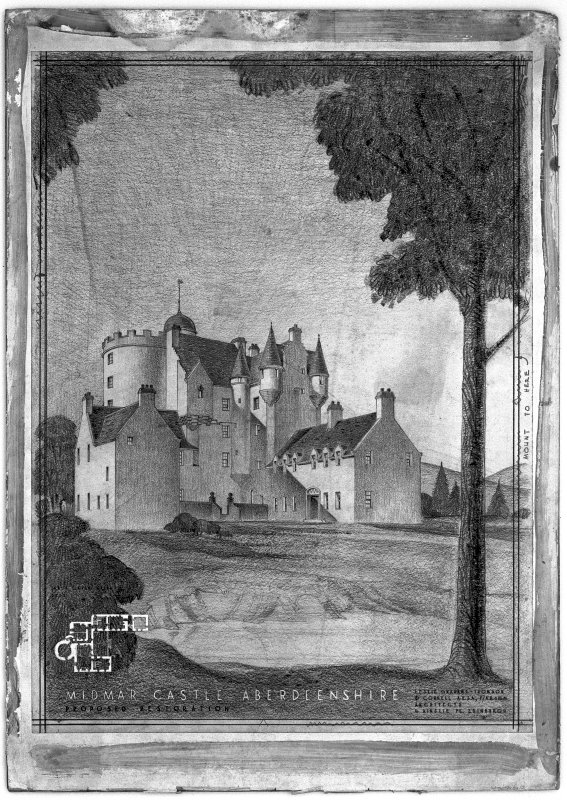 Perspective view of castle. Insc: 'Leslie Grahame-Thomson & Connell, A.R.S.A. F/A.R.I.B.A., 6 Ainslie Place, Edinburgh 3.' Scanned image of E 1249.