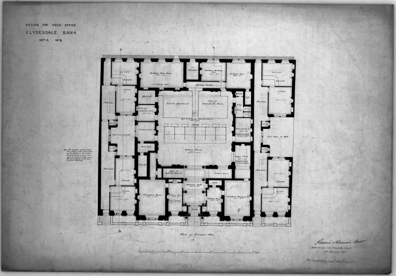 Alternate design, including principal floor plan of proposed head office. Scanned image of E 10636.