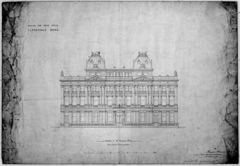 Alternate designs including block and floor plans, sections and elevation of proposed head office. Scanned image of E 10631.